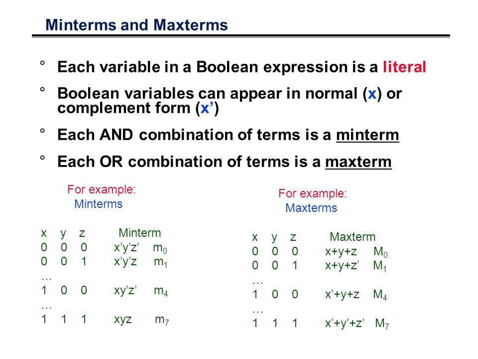 Minterms and Maxterms °Each variable in a Boolean expression is a literal °Boolean variables can appear in normal (x) or complement form (x') °Each AND combination of terms is a minterm °Each OR combination of terms is a maxterm For example: Minterms x y z Minterm 0 0 0 x'y'z' m 0 0 0 1 x'y'z m 1 … 1 0 0 xy'z' m 4 … 1 1 1 xyz m 7 For example: Maxterms x y z Maxterm 0 0 0 x+y+z M 0 0 0 1 x+y+z' M 1 … 1 0 0 x'+y+z M 4 … 1 1 1 x'+y'+z' M 7