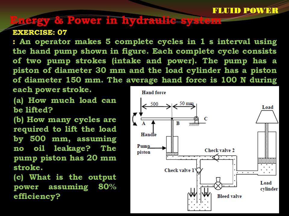 Energy & Power in hydraulic system FLUID POWER (a) How much load can be lifted.