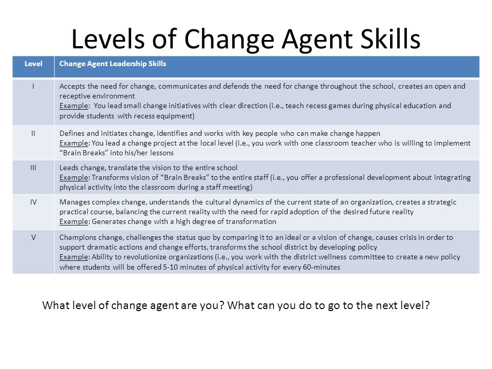 being a change agent managing social
