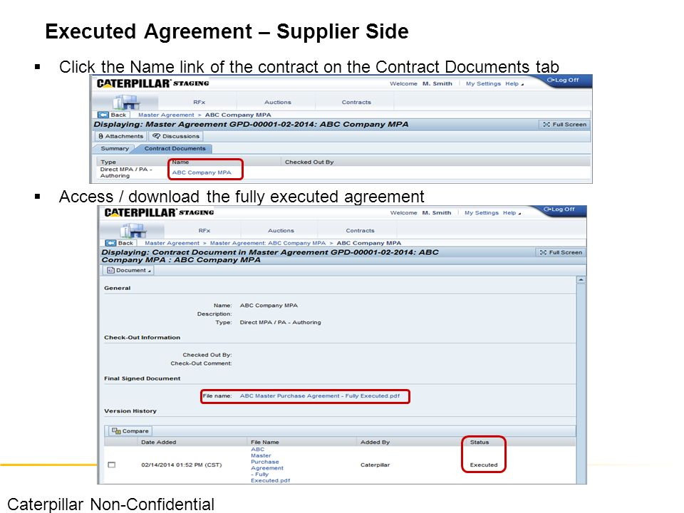 Econtract authoring supplier training material caterpillar non 27 click the name link of the contract on the contract documents tab access download the fully executed agreement executed agreement supplier side platinumwayz