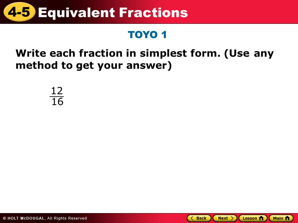 4-5 Equivalent Fractions Warm Up Warm Up Lesson Presentation ...