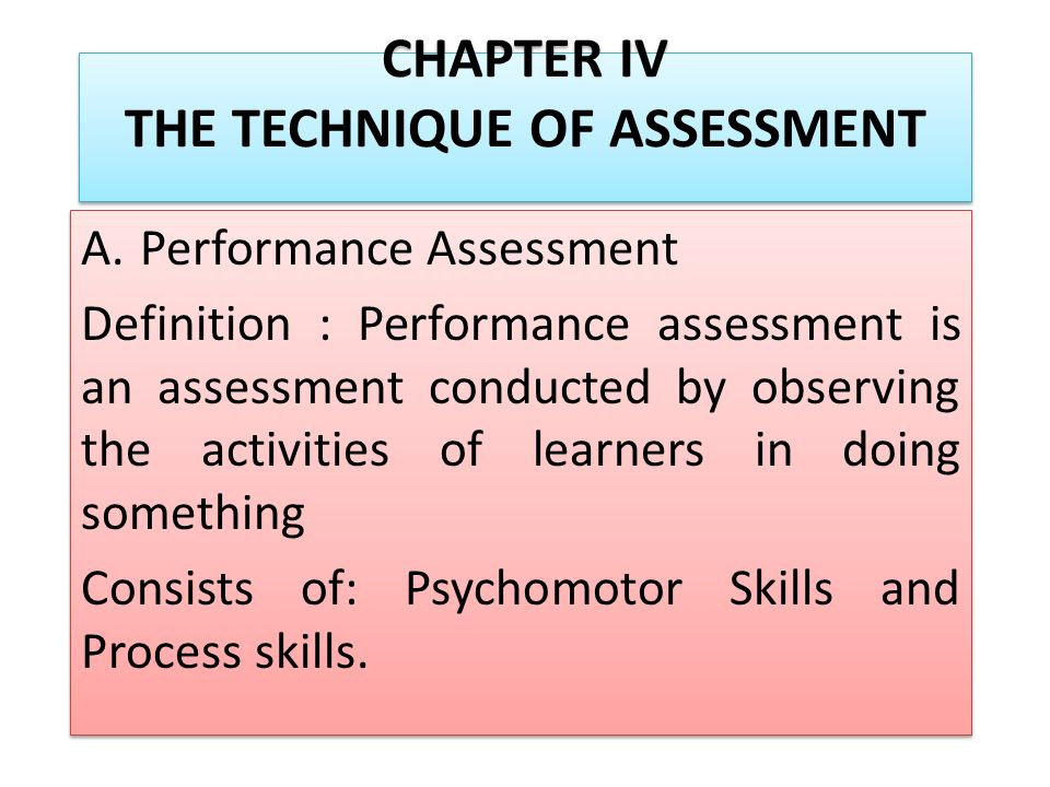 Chapter Iv The Technique Of Assessment APerformance Assessment