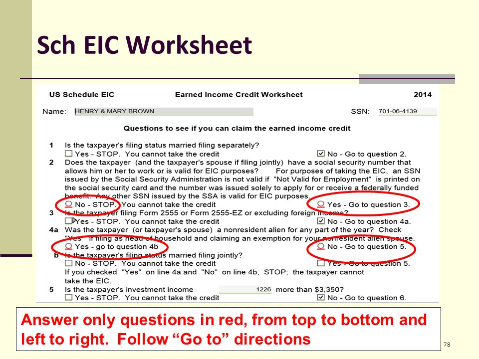 Entering Basic Taxpayer Information into TaxWise Pub ppt download – Earned Income Credit Eic Worksheet