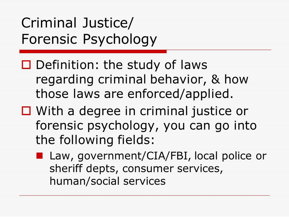 what is forensic psychology Up-to-date information to help you find the best accredited forensic psychology schools information on students, faculty and forensic psychology professional salaries.