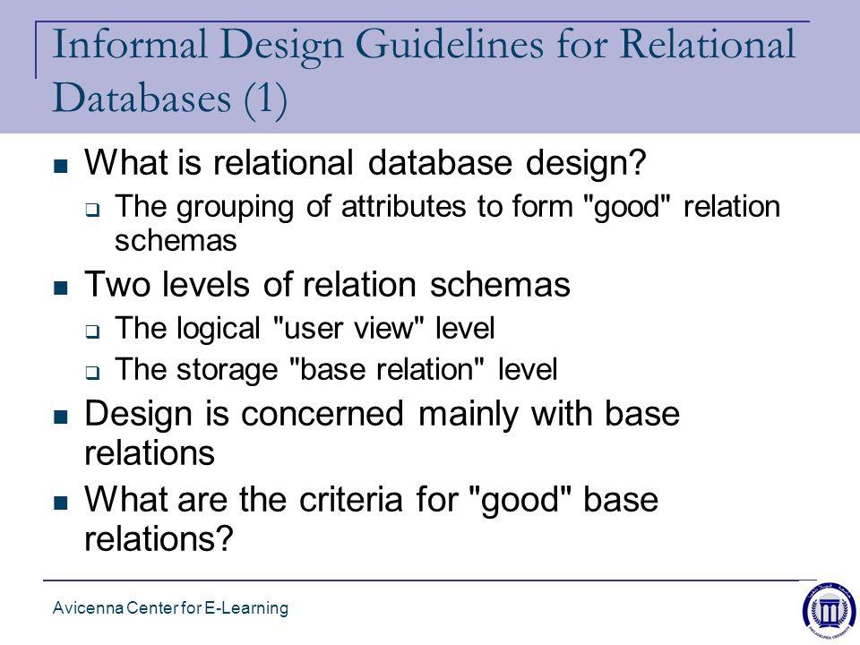 avicenna center for e learning informal design guidelines for relational databases 1 what - Database Design Guidelines