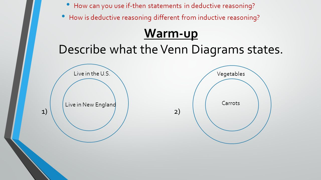 If then statements how can you use if then statements in warm up describe what the venn diagrams states 12 live in pooptronica