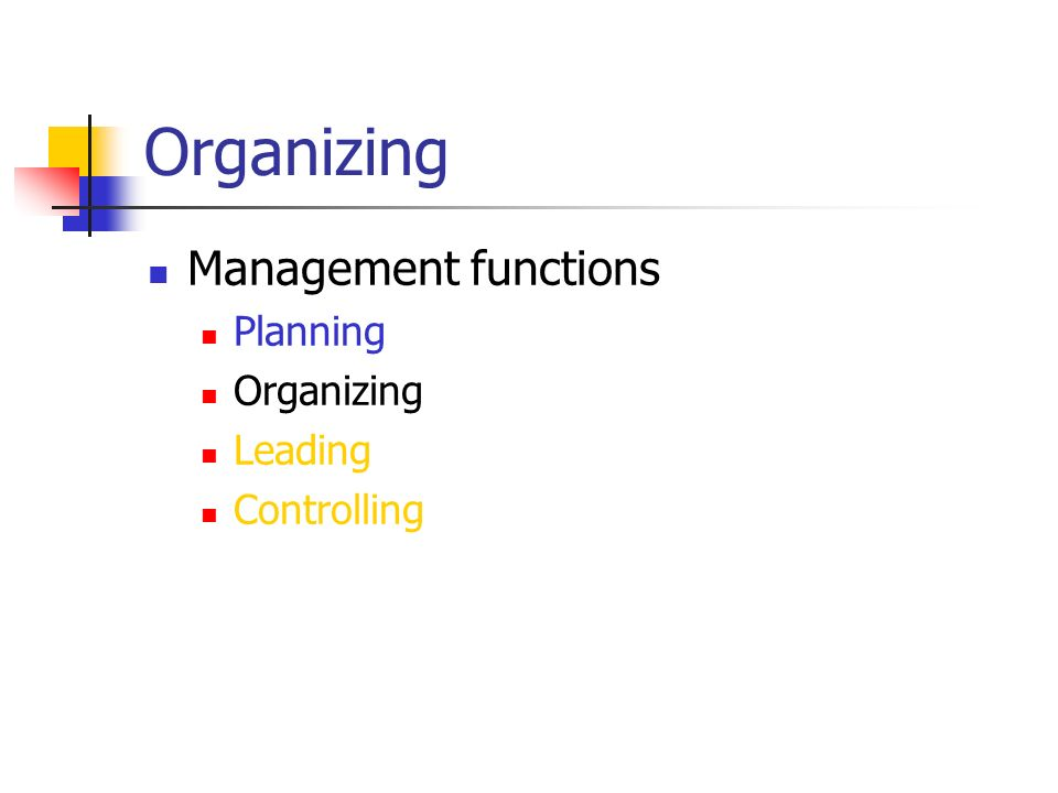 Organizing Management functions Planning Organizing Leading Controlling