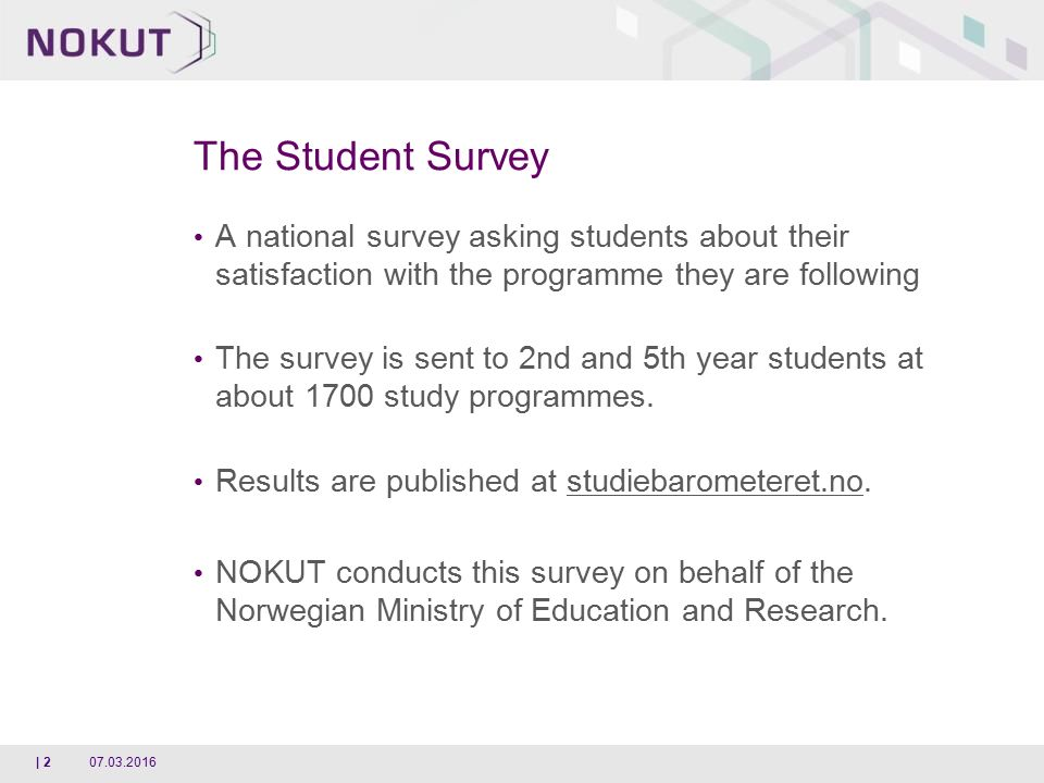 Studiebarometeret - The National Student Survey 2015/2016 A national ...