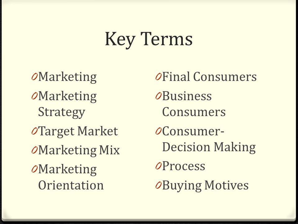Marketing Basics Chapter Key Terms 0 Marketing 0 Marketing ...