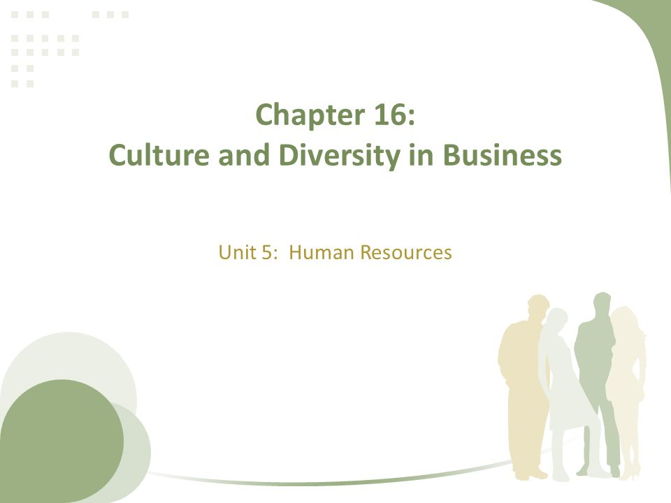 Chapter 16: Culture and Diversity in Business Unit 5: Human Resources