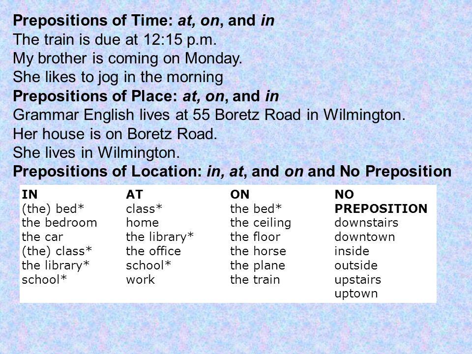 prepositions english grammar