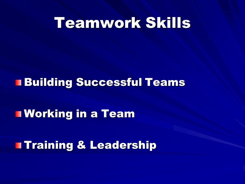 Teamwork Skills Building Successful Teams Working in a Team Training & Leadership