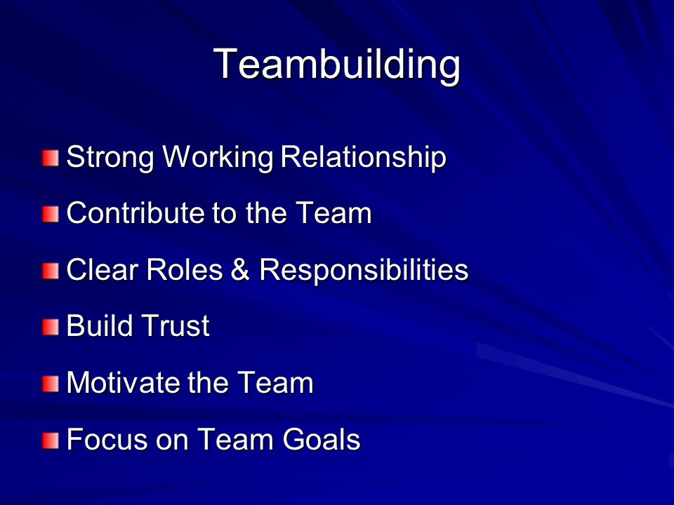 Teambuilding Strong Working Relationship Contribute to the Team Clear Roles & Responsibilities Build Trust Motivate the Team Focus on Team Goals