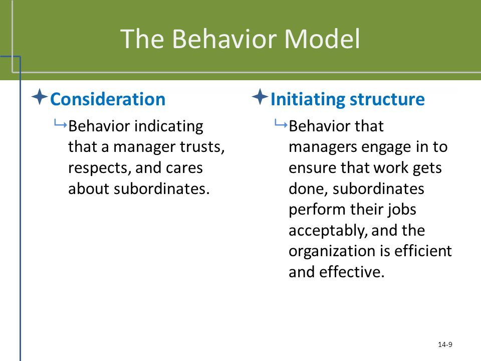 The Behavior Model  Consideration  Behavior indicating that a manager trusts, respects, and cares about subordinates.