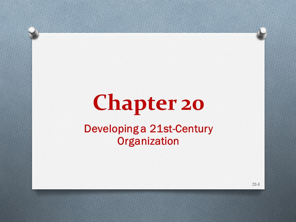 Chapter 20 Developing a 21st-Century Organization 20-3