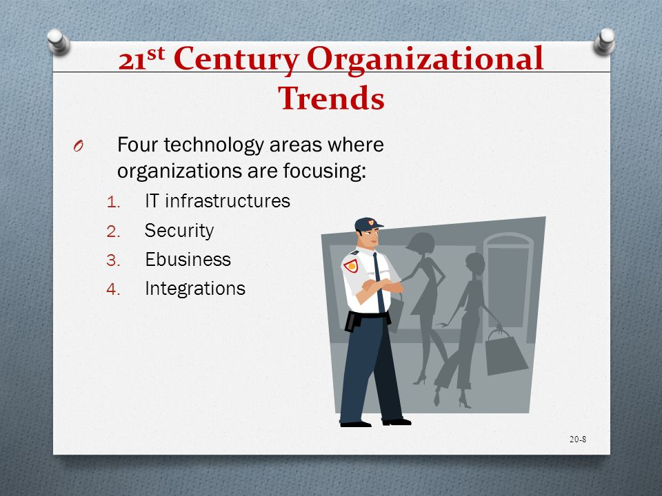 21 st Century Organizational Trends O Four technology areas where organizations are focusing: 1.
