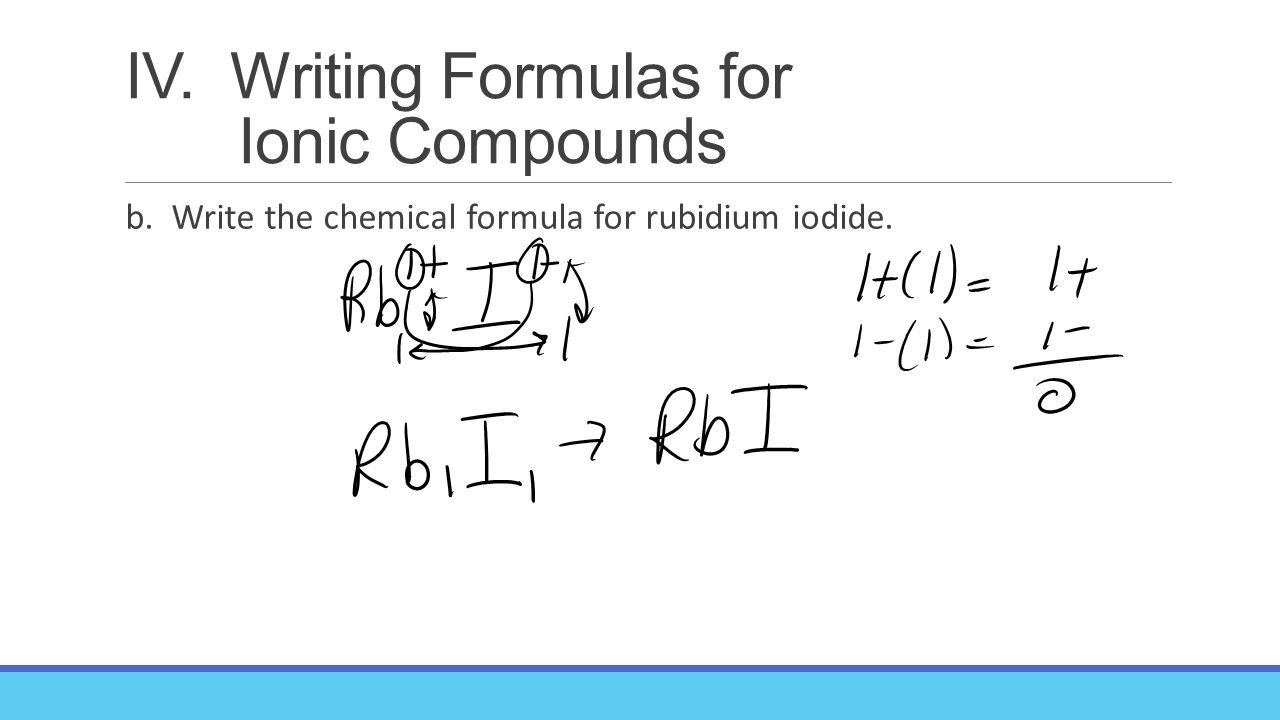 63 naming compound and writing formulas key concepts 1 what writing formulas for ionic compounds b write the chemical formula for rubidium iodide buycottarizona Choice Image