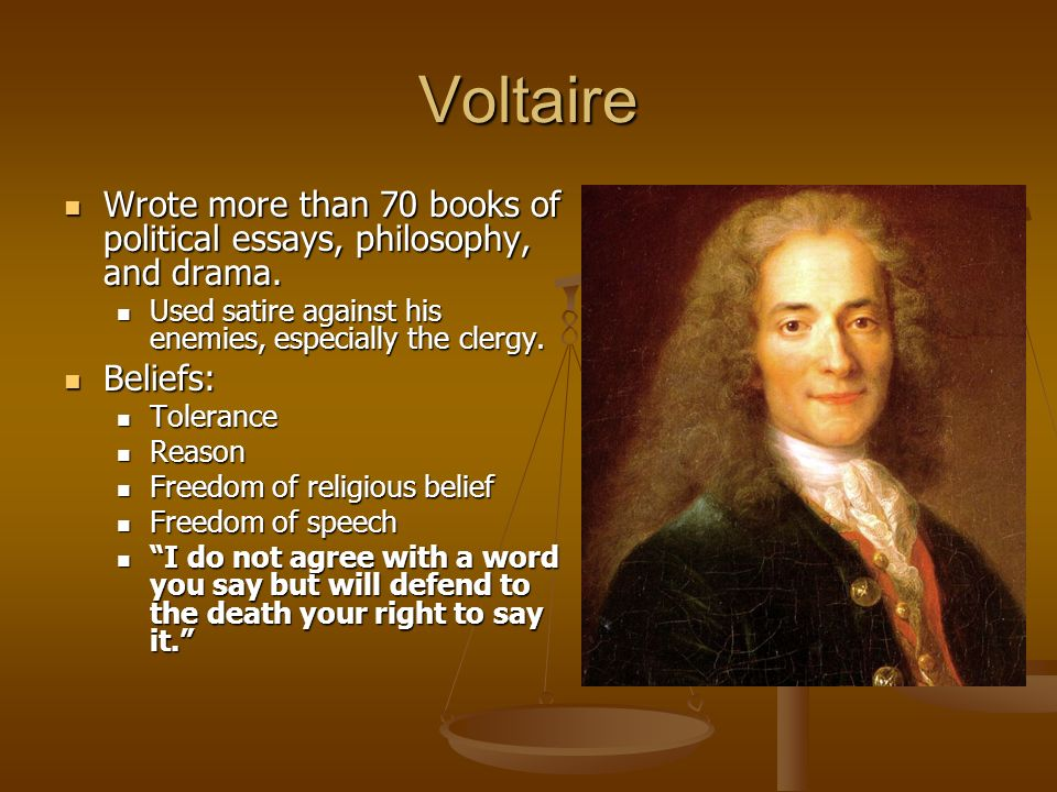voltaire essay toleration Candide essay compare/contrast of 2 characters throughout the story of candide, the author voltaire uses many of the characters to portray important things in life the two characters that voltaire used the most were candide and pangloss.