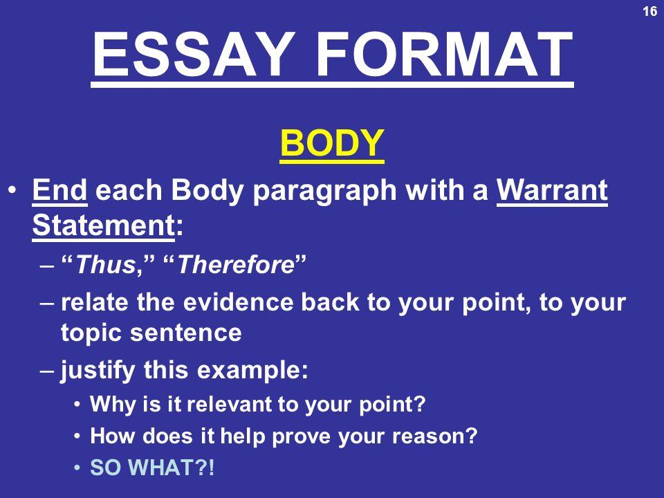 presentation essay format