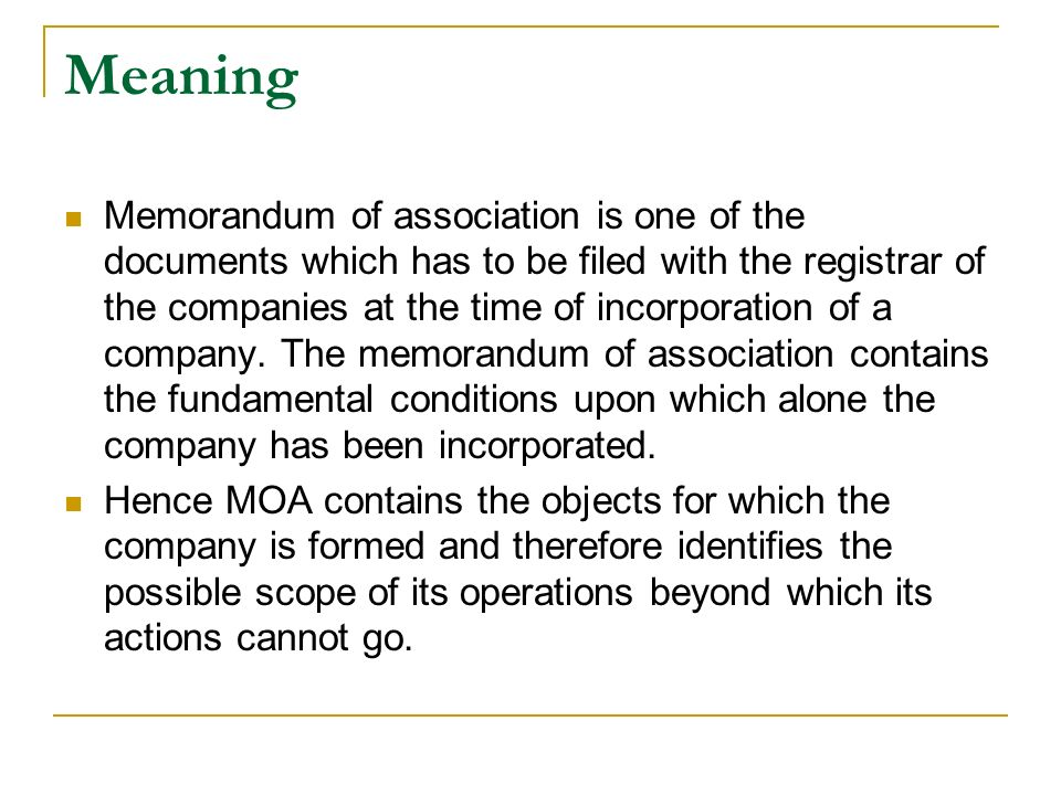 Memorandum Of Association Definition Of Memorandum Of Association