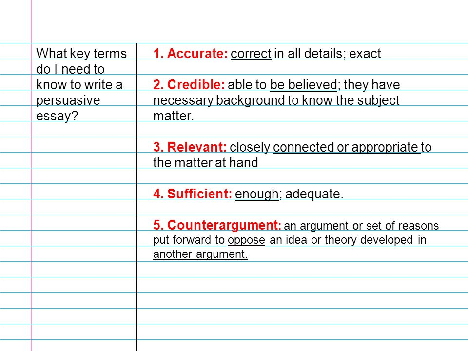 essential question what steps do i need to follow when writing my  what key terms do i need to know to write a persuasive essay