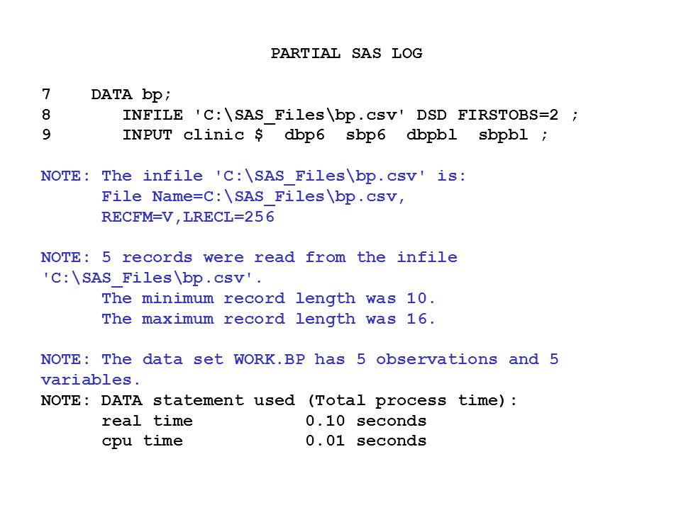Lesson  Topic  Reading In Data Programs  And  In Course Notes