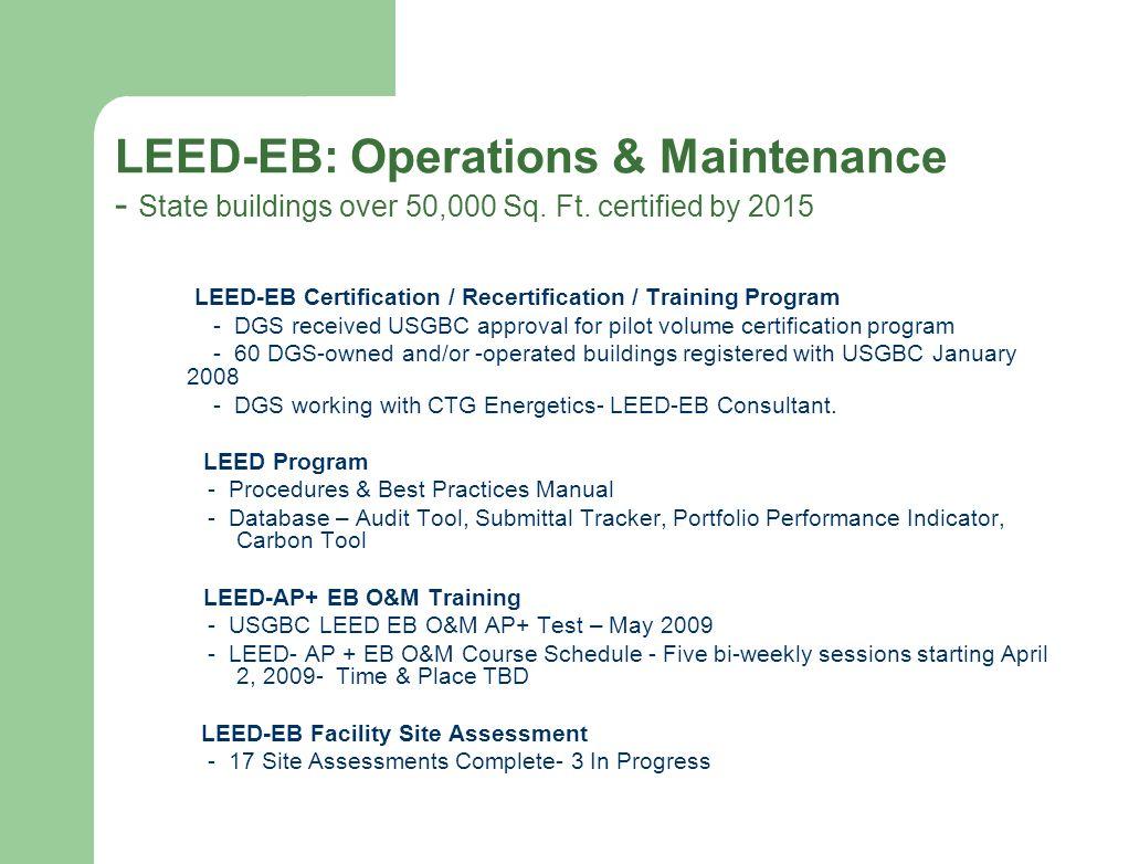 Green action team meeting february 19 2009 status of major 8 leed eb 1betcityfo Choice Image