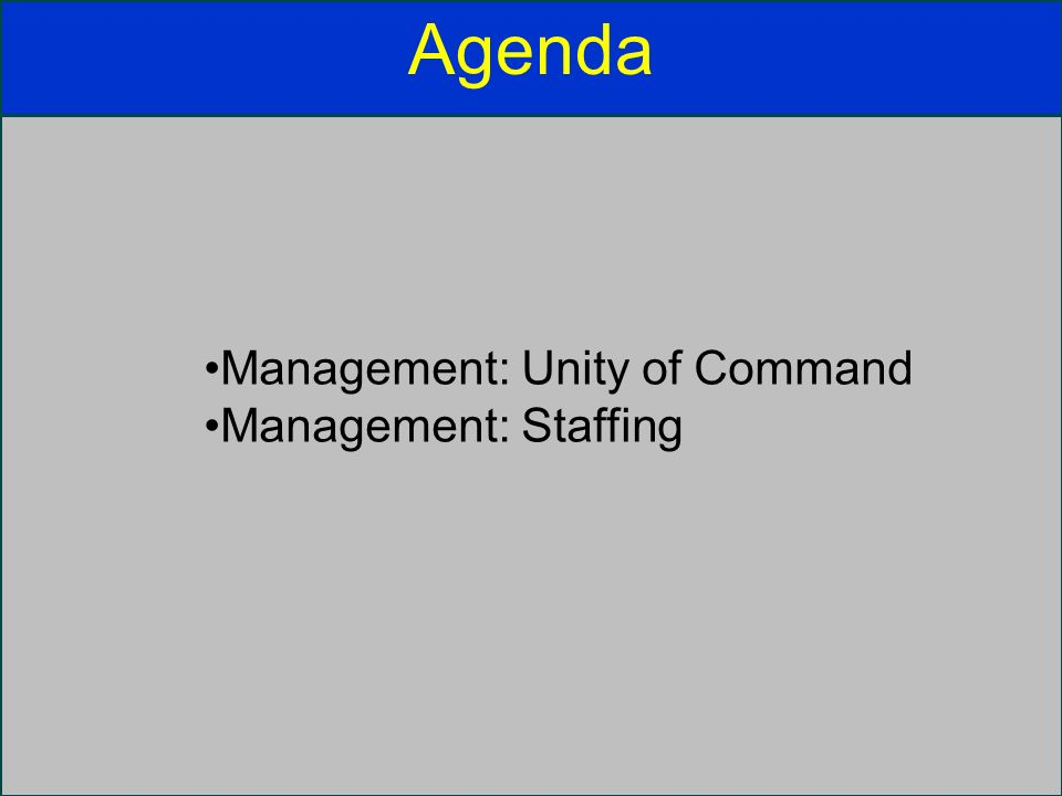 Agenda Management: Unity of Command Management: Staffing