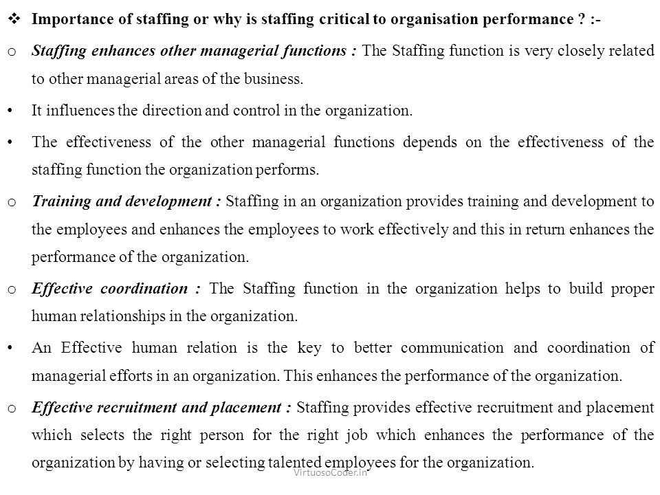  Importance of staffing or why is staffing critical to organisation performance .