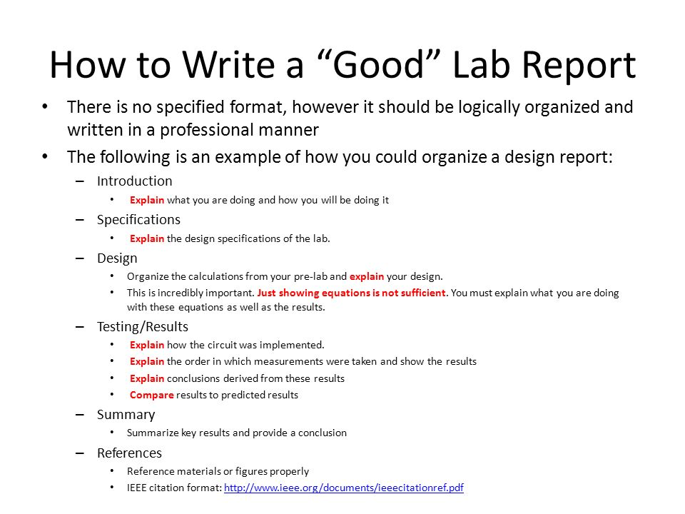 importance of writing laboratory reports Techniques and strategies for writing lab reports and scientific papers for class projects.