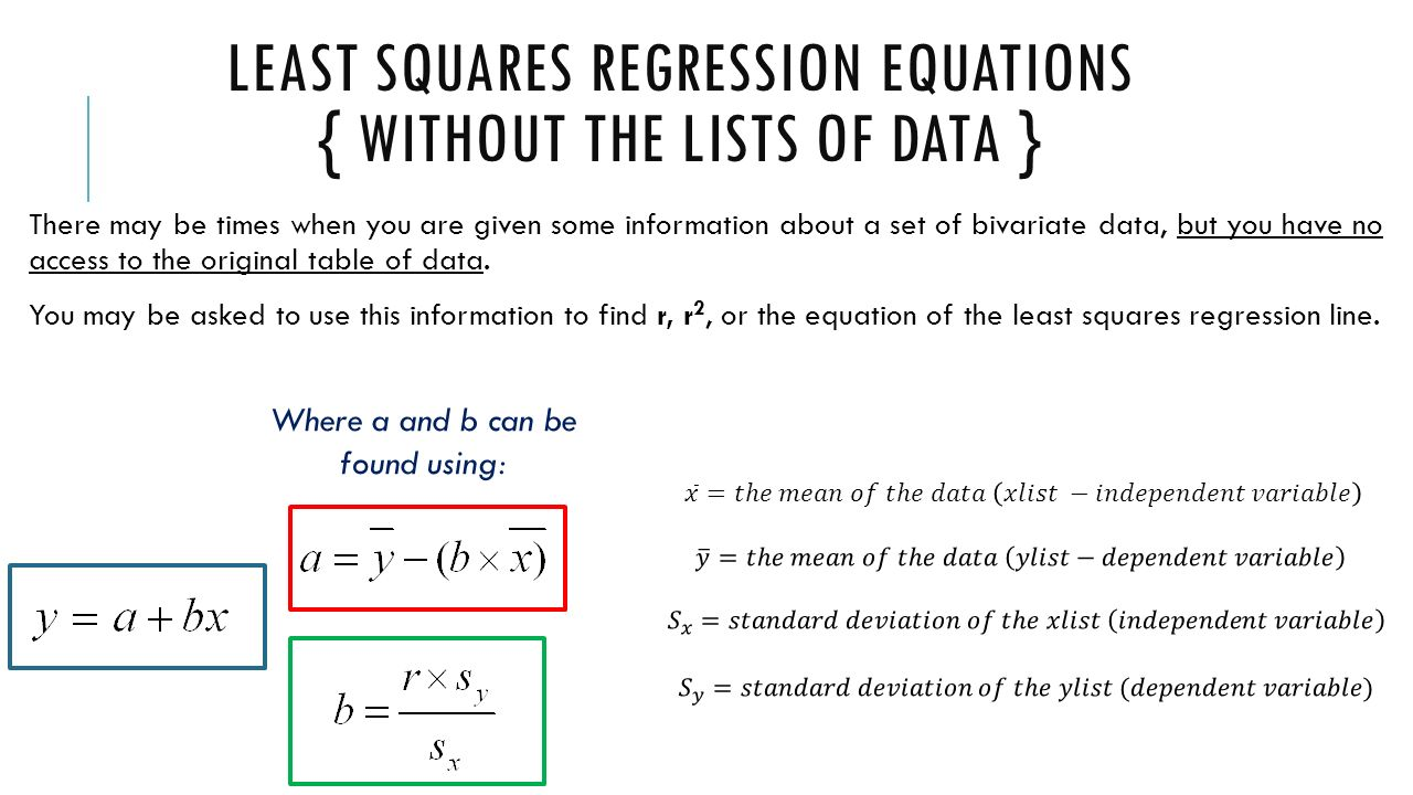 Unit 2 Bivariate Data Bivariate Data €� This Topic Involves… Y How To  Calculate The