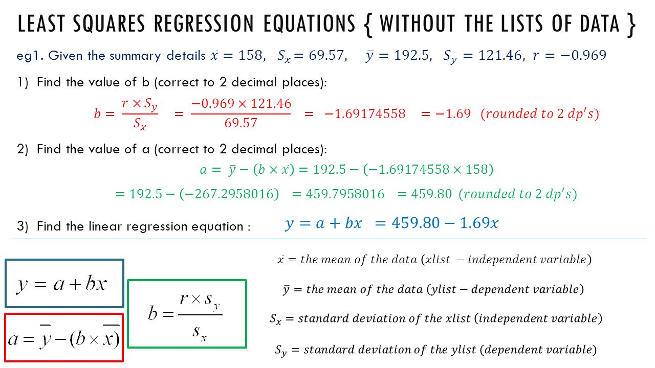 How To Find Standard Deviation Sharp Calculator Solution For How 31 Least  Squares Regression Equations {