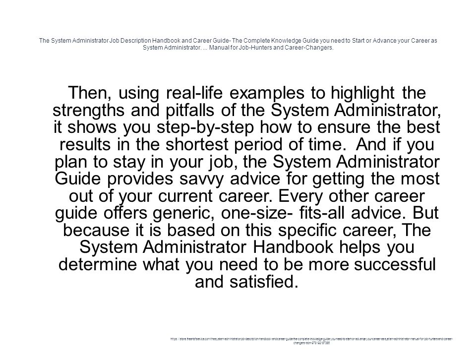 The System Administrator Job Description Handbook And Career Guide