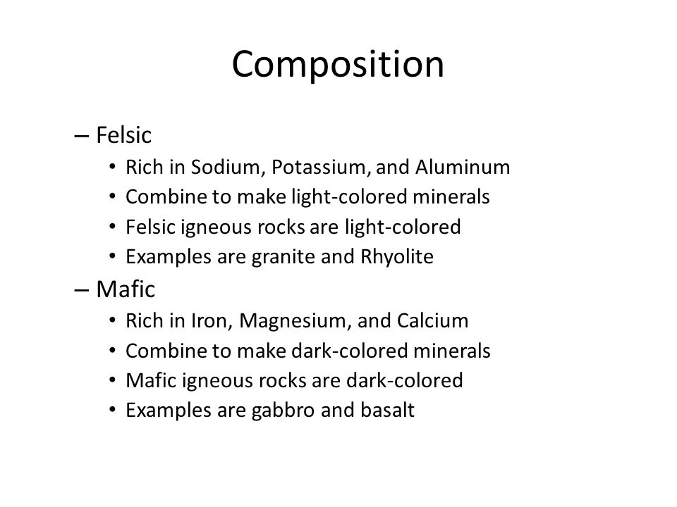 explain the differences between basaltic rhyolitic