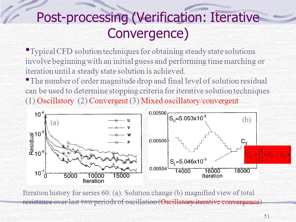 51 Post-processing (Verification: Iterative Convergence) Typical CFD solution techniques for obtaining steady state solutions involve beginning with an initial guess and performing time marching or iteration until a steady state solution is achieved.