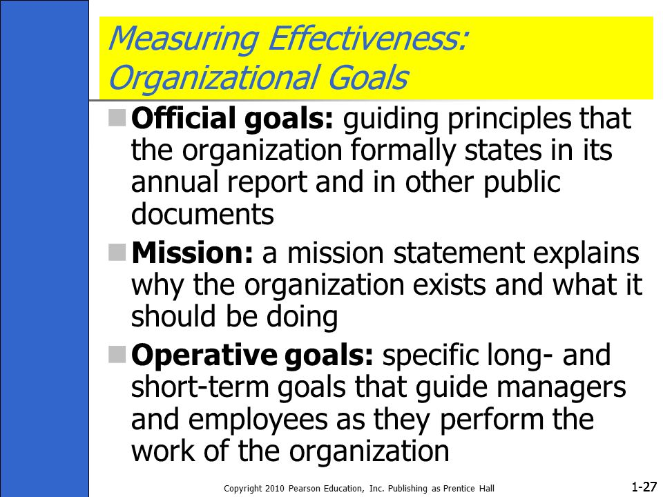 1- Copyright 2010 Pearson Education, Inc. Publishing as Prentice Hall 27 Measuring Effectiveness: Organizational Goals Official goals: guiding princip