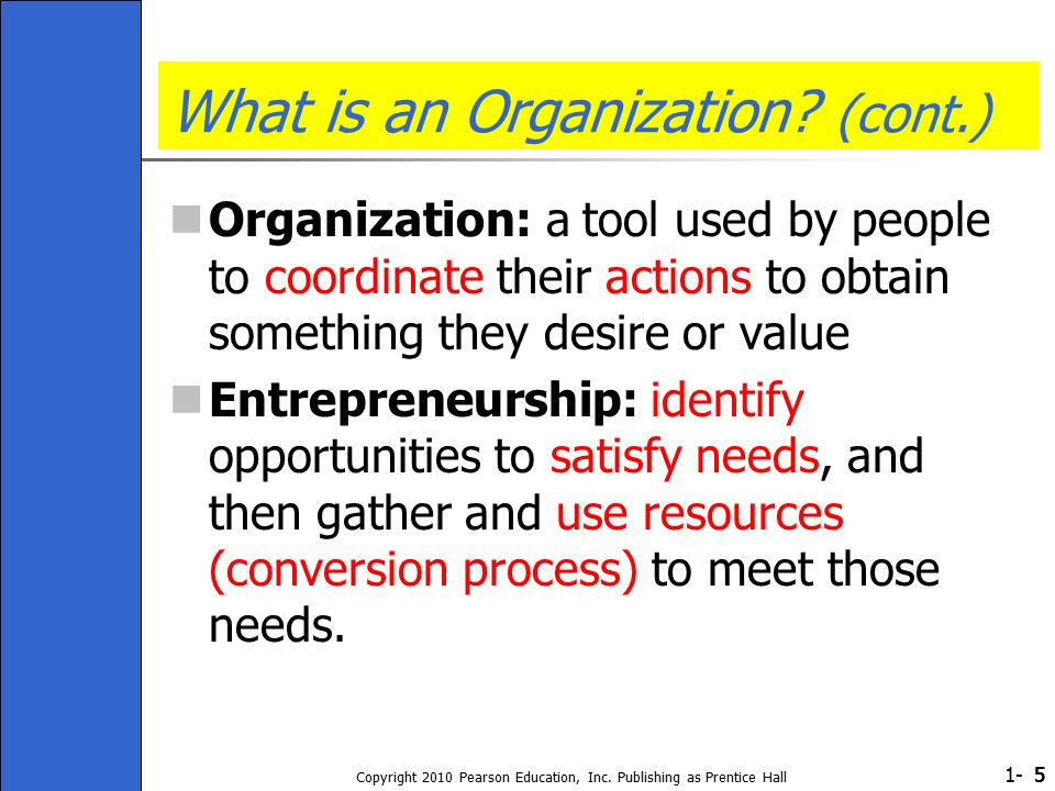 1- Copyright 2010 Pearson Education, Inc. Publishing as Prentice Hall 555 What is an Organization.