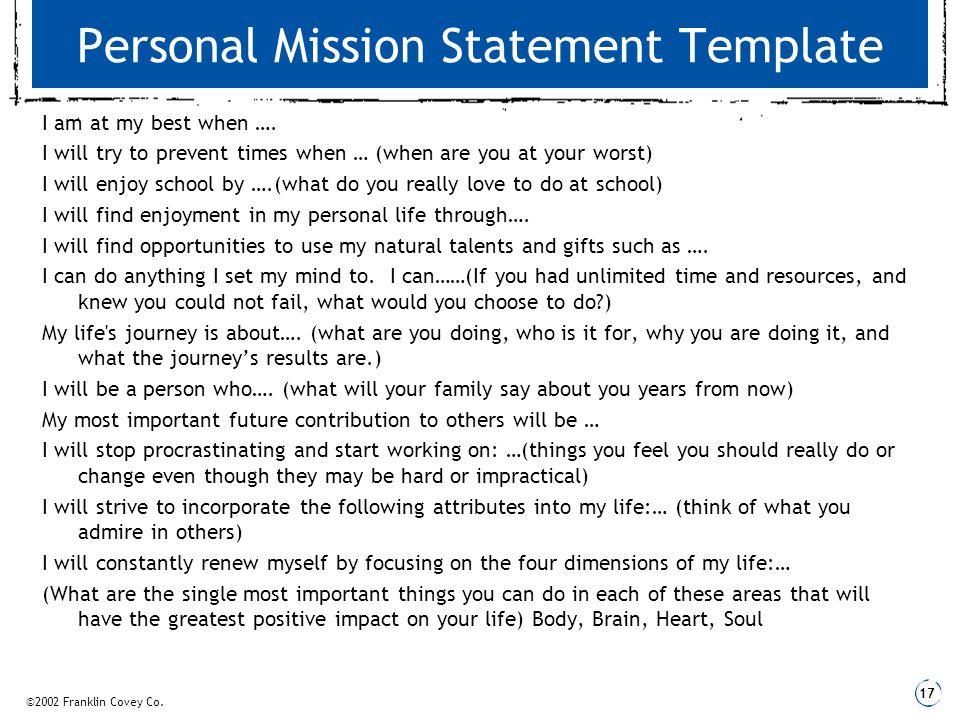 personal mission statement builder