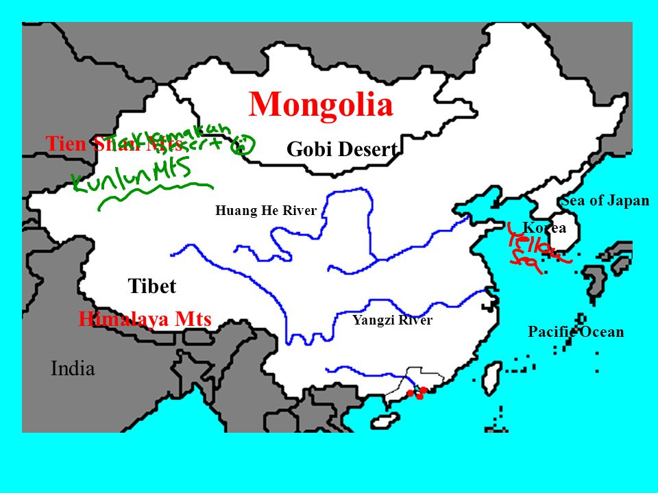 River valley civilizations ppt video online download 34 mongolia tien shan mts gobi desert tibet himalaya mts india sea of japan huang he river korea tibet himalaya mts yangzi river pacific ocean india gumiabroncs Images
