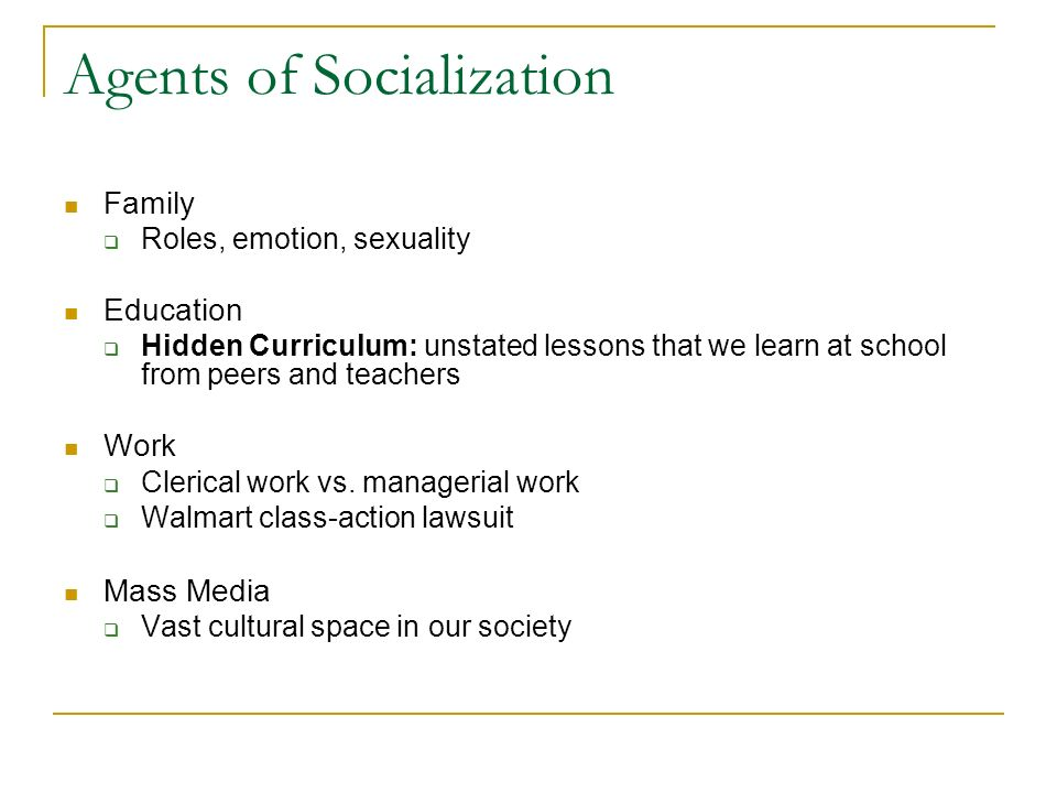 agents of socialization essay essay Socialization is the process wherein culture, traditions, norms, and social expectations are transmitted to children socialization agents are found everywhere and it is through the learning process that socialization is realized (henslin, 2004).