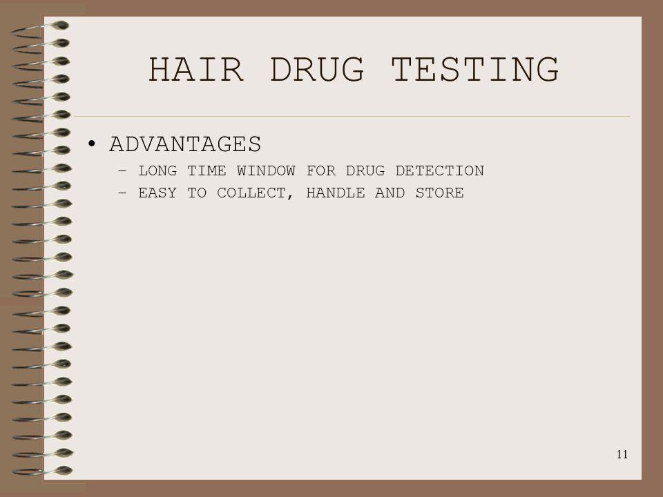 Hair drug testing testing window