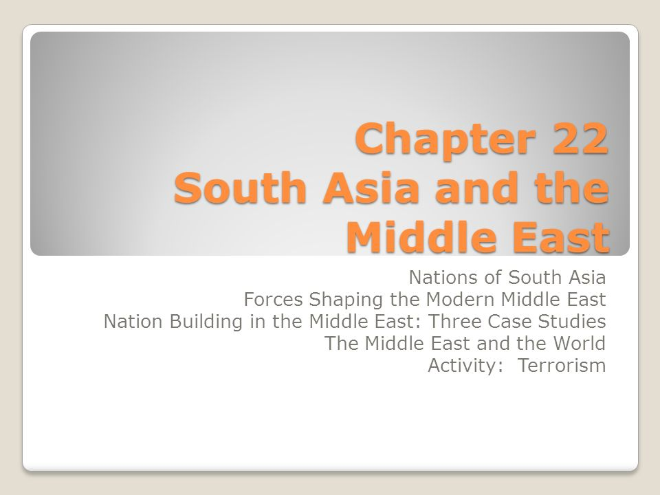 Chapter 22 South Asia and the Middle East Nations of South Asia Forces Shaping the Modern Middle East Nation Building in the Middle East: Three Case Studies The Middle East and the World Activity: Terrorism