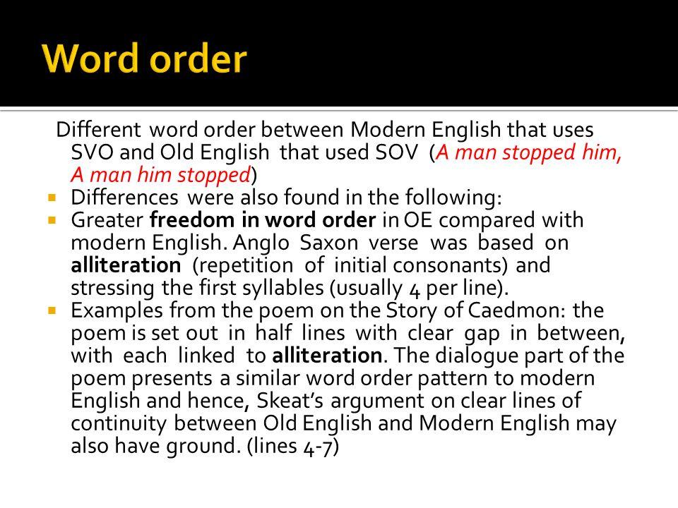 order in english