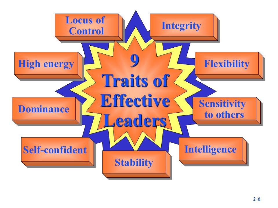 Locus of Control Locus of Control Integrity High energy Flexibility Dominance Sensitivity to others Sensitivity to others Self-confident Intelligence 9 Traits of EffectiveLeaders Stability 2-6