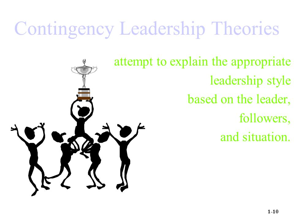Contingency Leadership Theories attempt to explain the appropriate leadership style based on the leader, followers, and situation.