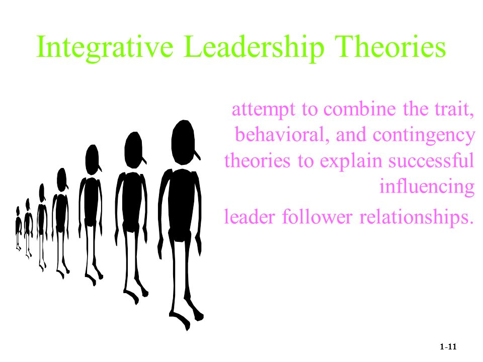 Integrative Leadership Theories attempt to combine the trait, behavioral, and contingency theories to explain successful influencing leader follower relationships.