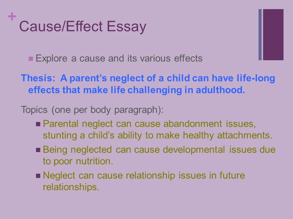 tuesday language arts cause and effect essay   cause effect essay explore a cause and its various effects thesis a parent s