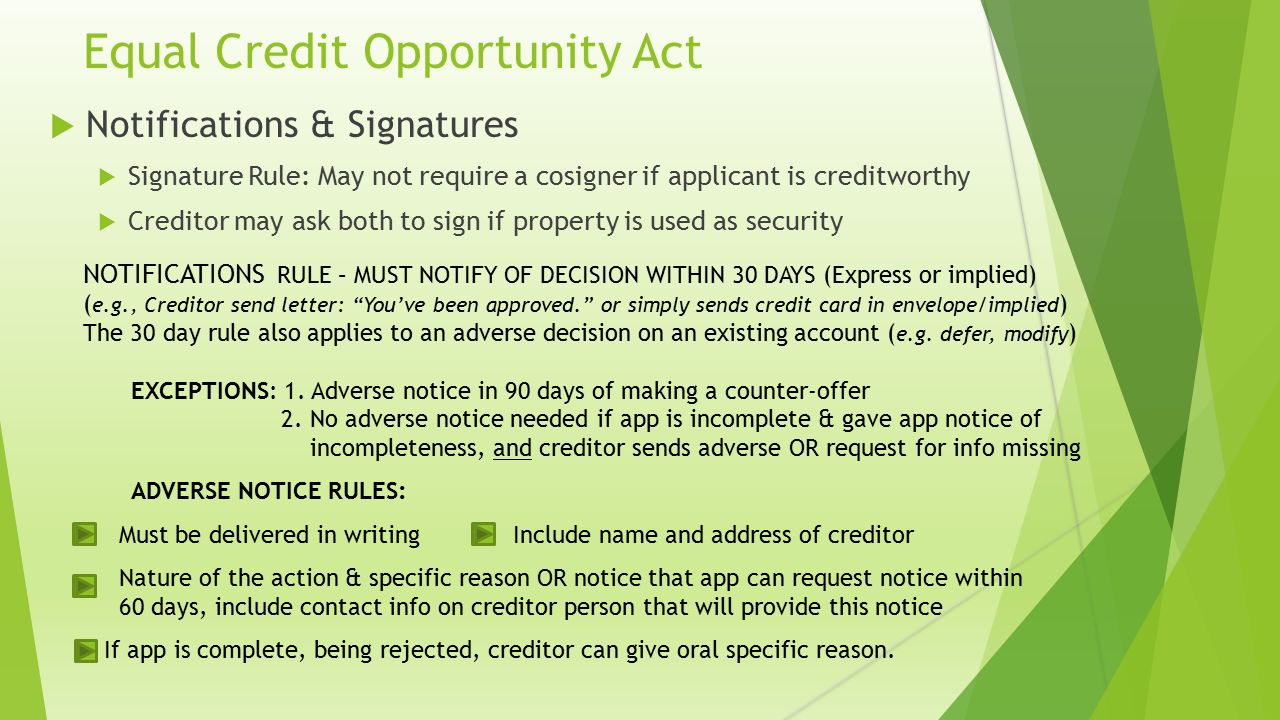 Equal credit opportunity act ecoa reg b the consumer financial equal credit opportunity act notifications signatures signature rule may not require a reheart Choice Image