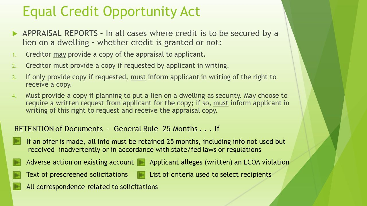 Equal credit opportunity act ecoa reg b the consumer financial equal credit opportunity act appraisal reports in all cases where credit is to be reheart Choice Image