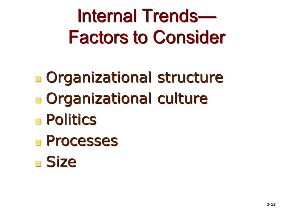 Internal Trends— Factors to Consider Organizational structure Organizational structure Organizational culture Organizational culture Politics Politics Processes Processes Size Size 3-12